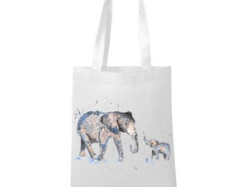 Tote bag with Antique Elephant with colored Ball  Engraving Print  Circus print reusable bag