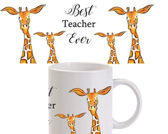 Teacher mug, teacher gift, ceramic mug, giraffe ceramic mug, animal mug, country kitchen, giraffe lover gift