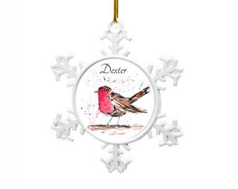 Robin tree decoration, Personalised Christmas decoration, robin christmas, babies 1st christmas decoration, tree decoration
