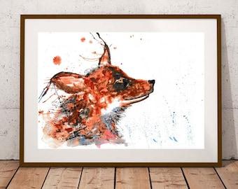 Giclee print, Fox watercolour PRINT, woodland animal, British fox, watercolour painting, fox lover gift, watercolour animal print
