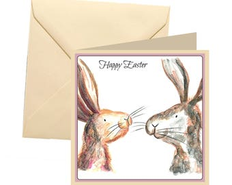 Rabbit Easter card, blank card, greetings card, Easter card, Easter greetings card, rabbit card