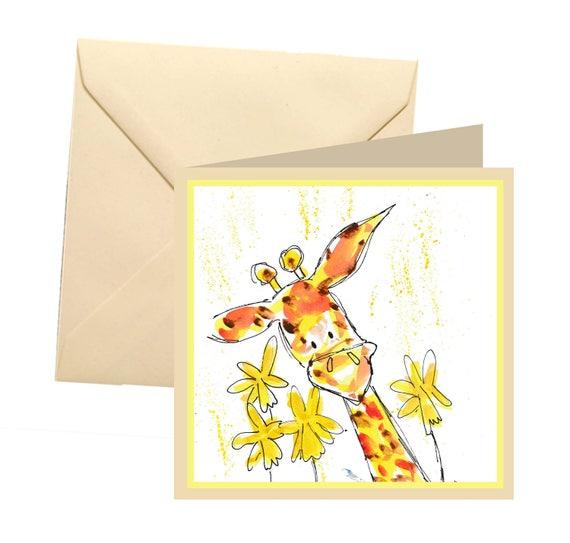 Girafe Carte pour mamantoujours ma mère à jamais mon amiajouter un texte personnalisé