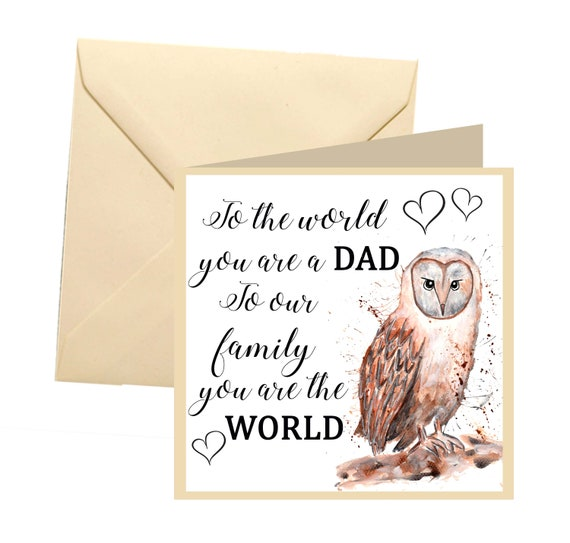 fathers day card owl fathers day cute dad card dad
