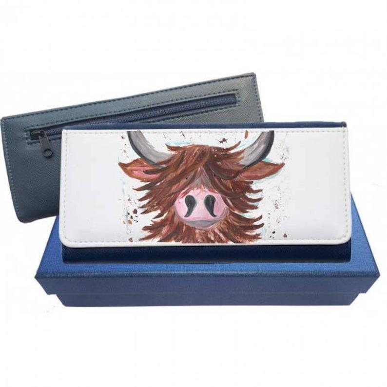 Portemonnee Koeienprint.Maggie Moo Koe Highland Cow Portemonnee Marine Portemonnee Etsy