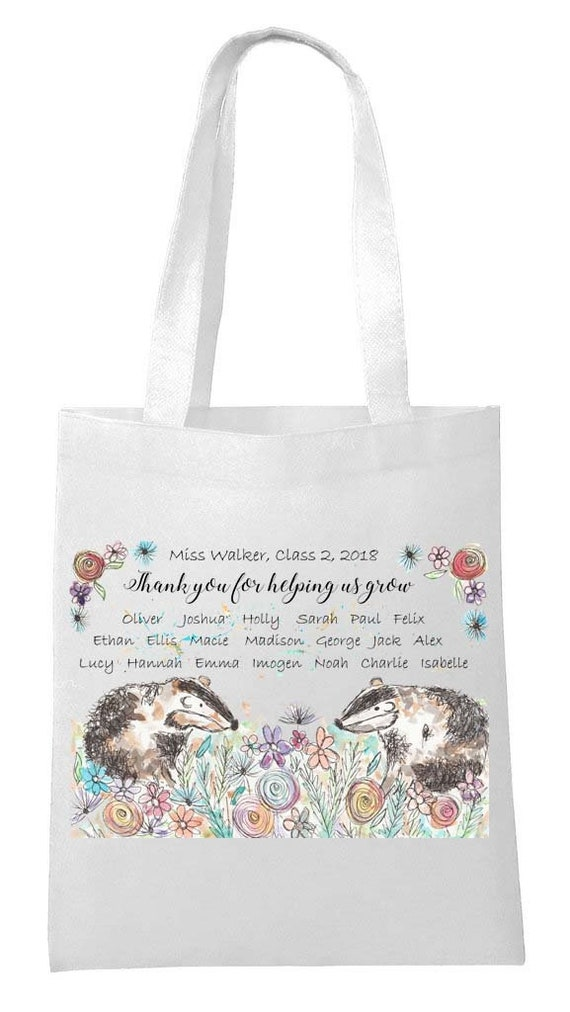 Badger Canvas Tote Bag Badger Style Tote Bag Badger Personalised Tote Bag On Trend Tote Bag Gift For Girl Badger Tote Bag,