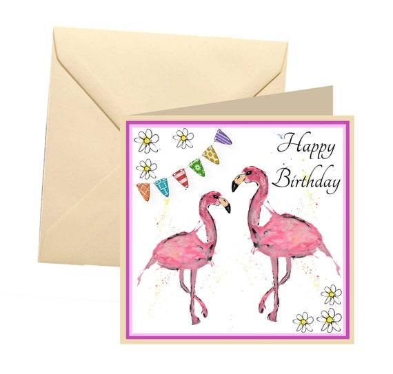 flamingo verjaardagskaart lege kaart mooie verjaardagskaart etsy