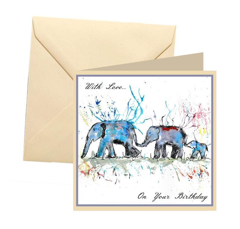 Animal Birthday Card Blank Elephant