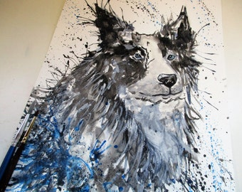 Puppy art, BORDER COLLIE art, dog painting, border collie painting, dog art print,