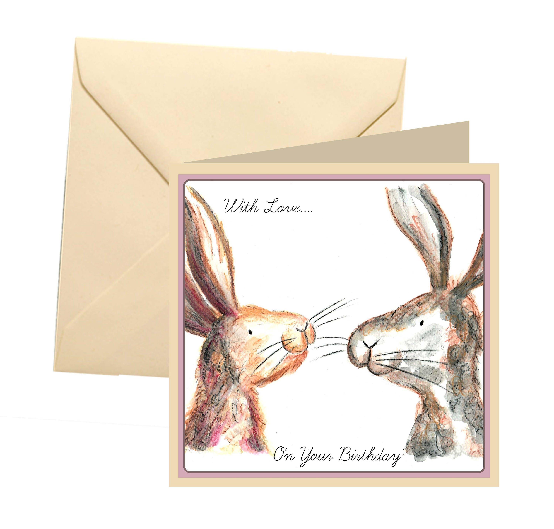 Rabbit Birthday Card Blank Greetings Bunny