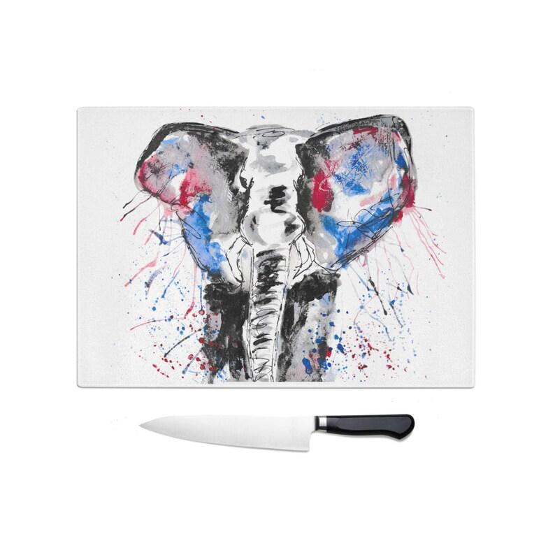 Elephant chopping board elephant family cutting board elephant kitchen gift glass chopping board