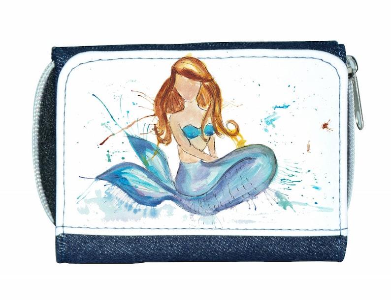mermaid gift mermaid wallet Mermaid denim purse mermaid purse mermaid navy purse denim purse