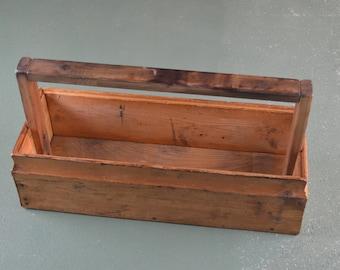 Vintage Carpenters Wood Tool Tote, Country Decor 1950 Era,  #423
