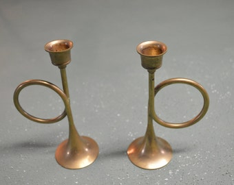Brass Candle Holder, Bugle Table Centerpiece, #344