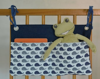 Whales - Bettutensilo and Wandutensilo in one - Woman Popper's Pea - For diapers, wet wipes, drinking bottle or cuddly toy