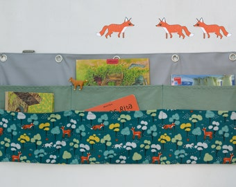Wandutensilo, 6 bags, forest friends, woman popper's pea -The wall organizer with fox, deer and badger in petrol ensures order in the nursery