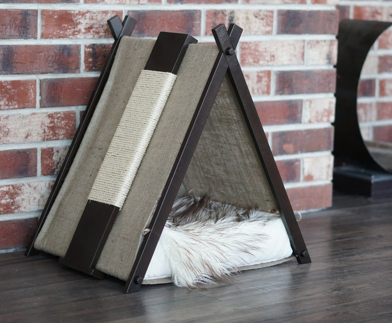 Small dog place Comfortable pet bed witch tent Eco cat house with scratcher and hammock Kitti pillow