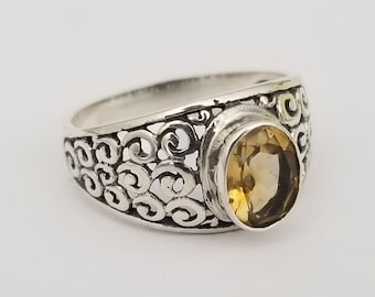 New hand crafted sterling silver 925 /& genuine oval yellow citrine gemstone ring spiral filigree statement handmade band jewelry