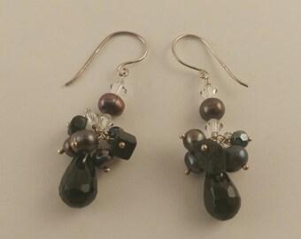 Sterling Silver Black Onyx Swarovski Crystal Pearl Cluster Drop Earrings
