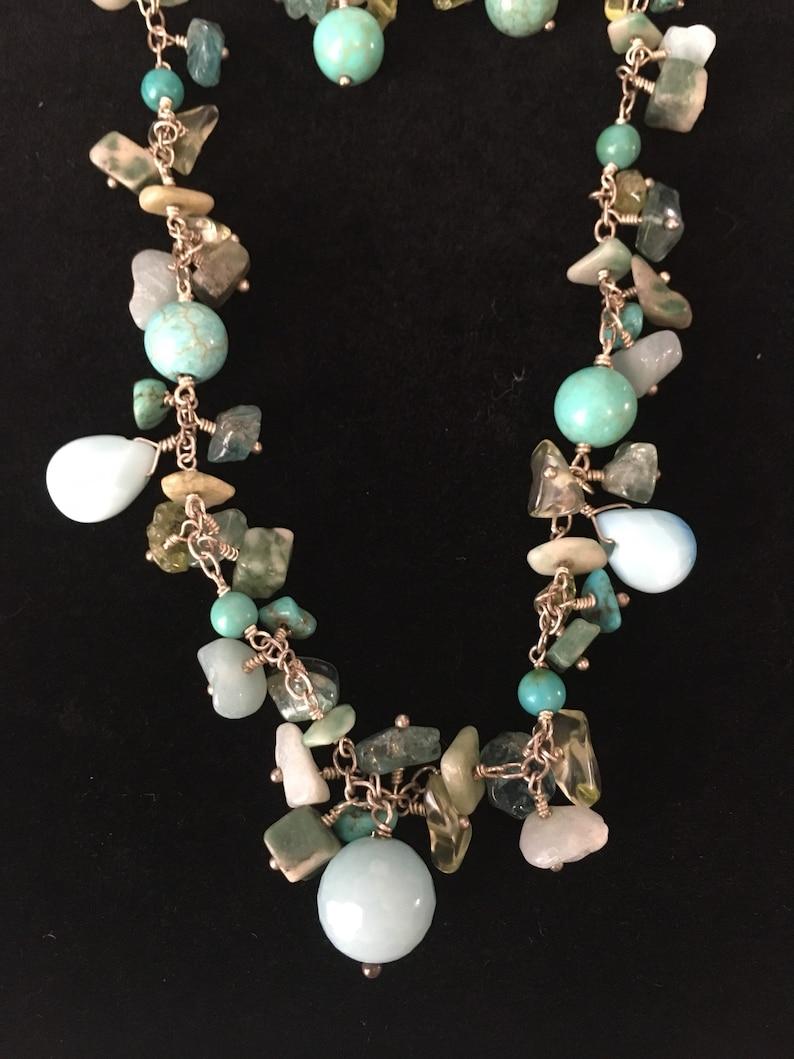 New Sterling Silver 925 turquoise aquamarine Peridot genuine gemstones cluster drop earrings /& 14 choker necklace set wgift box handmade