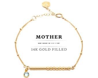 MOTHER Morse Code Bracelet With Swarovski Birthstone