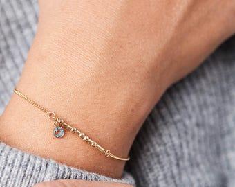 CUSTOM Morse Code Bracelet - Bridesmaid Gift, Birthday Gift for Sister, Mother, BFF, Best Friend, Daughter, Wife, Girlfriend |'Ann' Bracelet