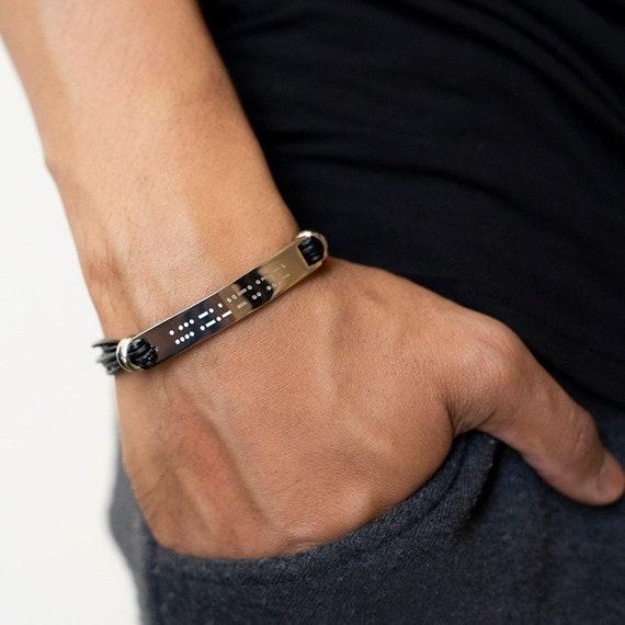 nouveau style 6b458 04498 PERSONNALISÉ Bracelet homme • Morse code Secret Message caché Message  manchette Bracelet cadeau pour lui, frère, père, mari, fils - « Dean »