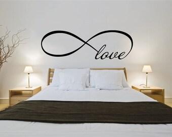 Love Infinity Symbol Bedroom Wall Decal Quote Vinyl Sticker Decals Mural  Art Home Decor Infinity Loop Vinyl Lettering Bedroom Decor ZX146