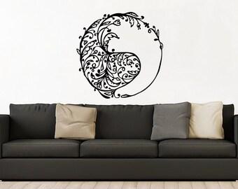 Wall decals Taoism gift Floral Handmade 2045 Sticker Yin Yang wall decal Daoism Vinyl Decal ying yang Window Decal balance