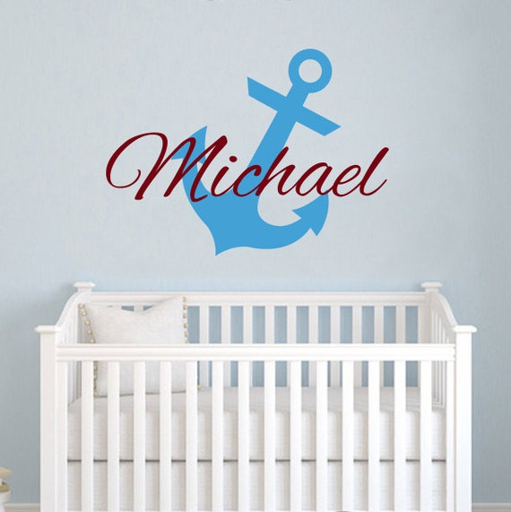 Personalized Boy Name Wall Decal Anchor Decor Vinyl Decal Sticker Nursery ZX87