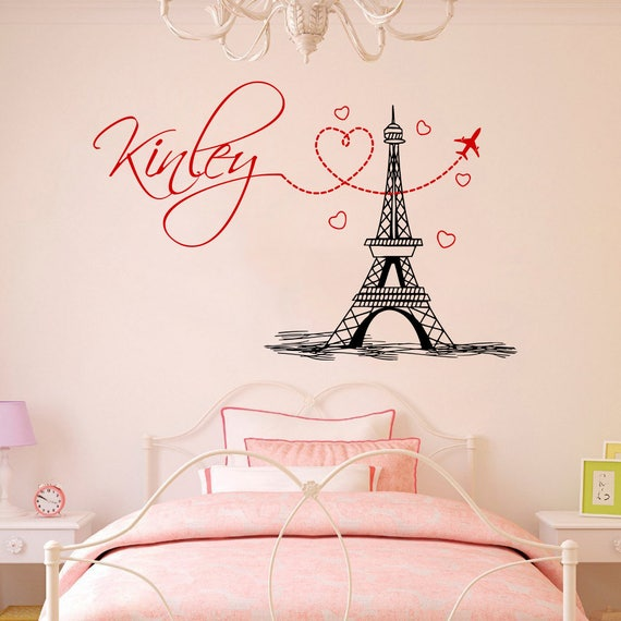 girl name wall decal eiffel tower vinyl stickers mural paris | etsy