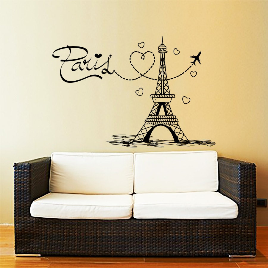 Eiffel Tower Wall Decal Vinyl Stickers Decals Art Home Decor | Etsy