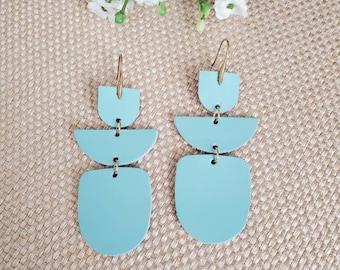 Light blue leather earrings