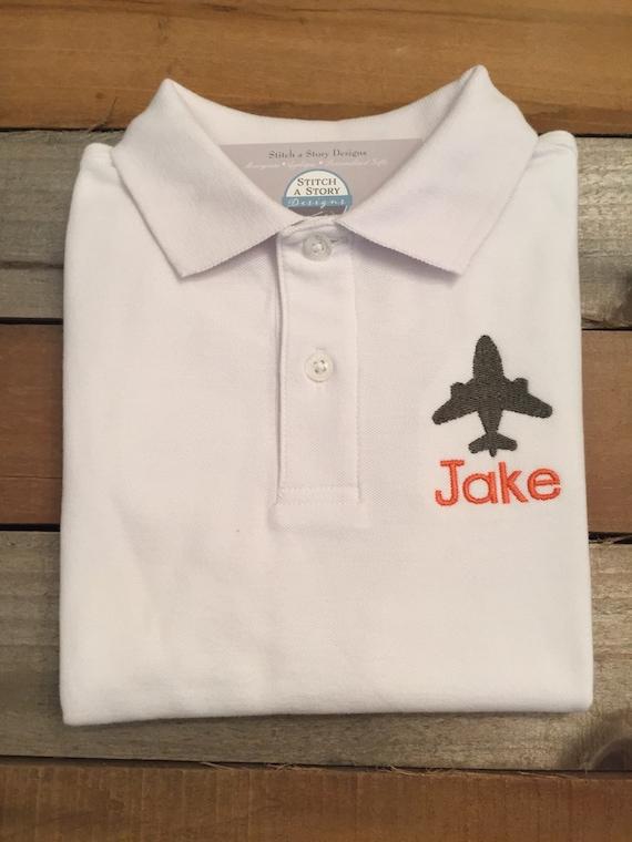 Boy Polo Shirt Airplane Polo Shirt Airplane With Name Polo Etsy