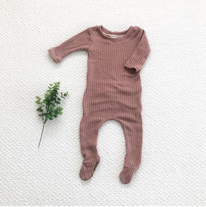 e195929f1a3c The  Rosalie  baby girl outfit mauve waffle knit