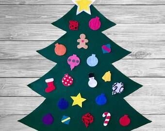 Felt christmas tree etsy felt christmas tree large wall christmas play tree for kids toddlers felt ornaments christmas tree for wall maxwellsz