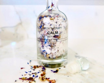 calming bath soak, lavender bath soak, magnesium bath soak, floral bath soak, salt bath soak, herbal bath soak, therapeutic bath soak,