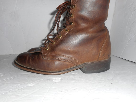 7b7c390286d5a ON SALE Women's Laredo Roper Granny Western Boots Brown Leather Cowgirl  Boots Size 7M NICE