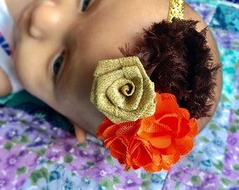 Thanksgiving Baby Headband Brown /Orange Flowers Baby Headband Fall baby Headband baby headband Autumn Headband Thanksgiving Headband