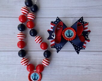 Nautical Hair Bow /& Chunky //Bubblegum Necklace Set Red Navy Anchor