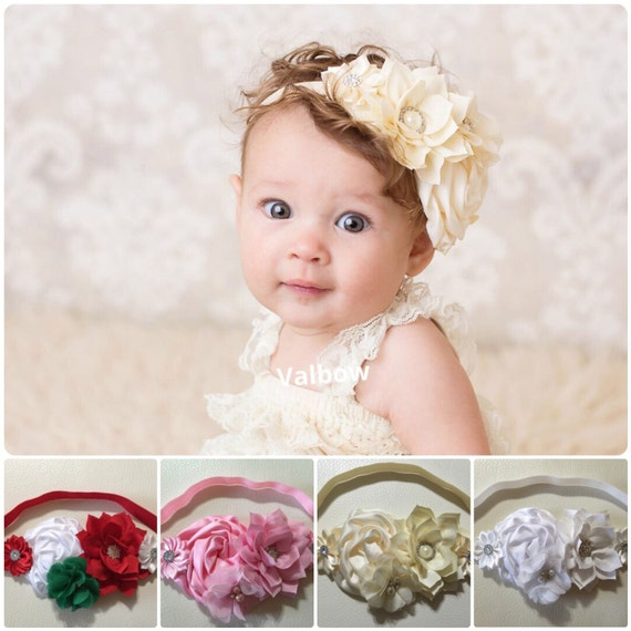 Vintage Baby Headband Newborn Headband Baptism Baby Girl  9585ac5881e