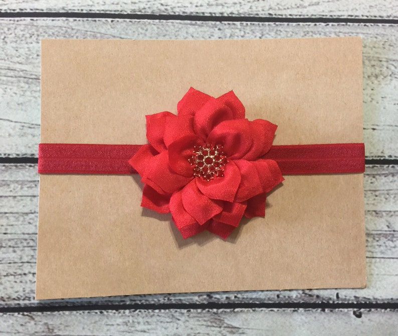 Red Christmas Headband Red Baby Headband Red Flower Headband Holiday Baby Headband Glitter Headband Feathers