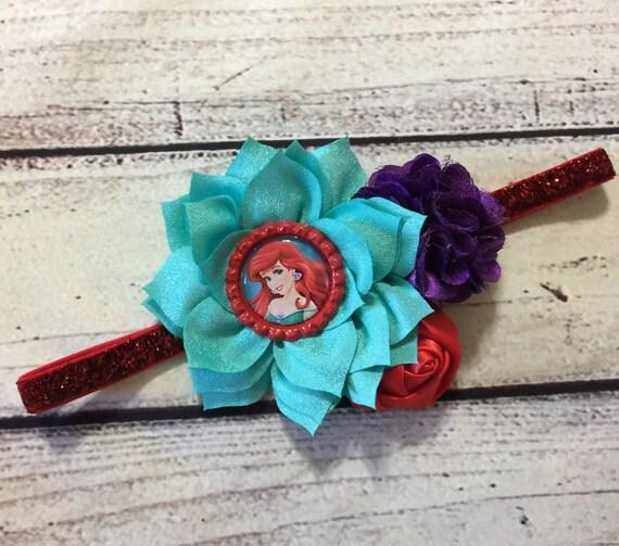Mermaid headband Mermaid baby headband Ariel Headband Under the Sea headband Mermaid birthday party Mermaid hairbow Lavender Aqua Feather