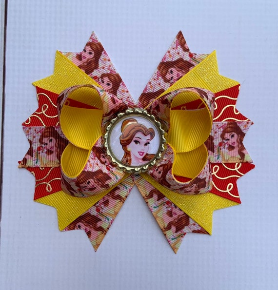 Princess Belle //Beauty And The Beast Boutique Stacked Hair Bows
