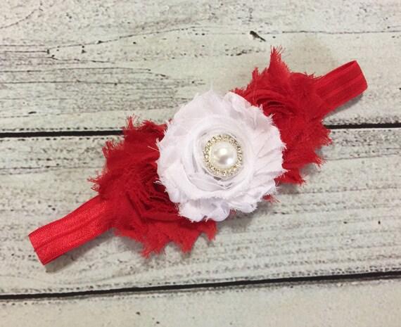 Noël bandeau rouge et blanc bébé Noël bandeau bandeaux Shabby fleur bandeau vacances bandeau Noël Hair Bow