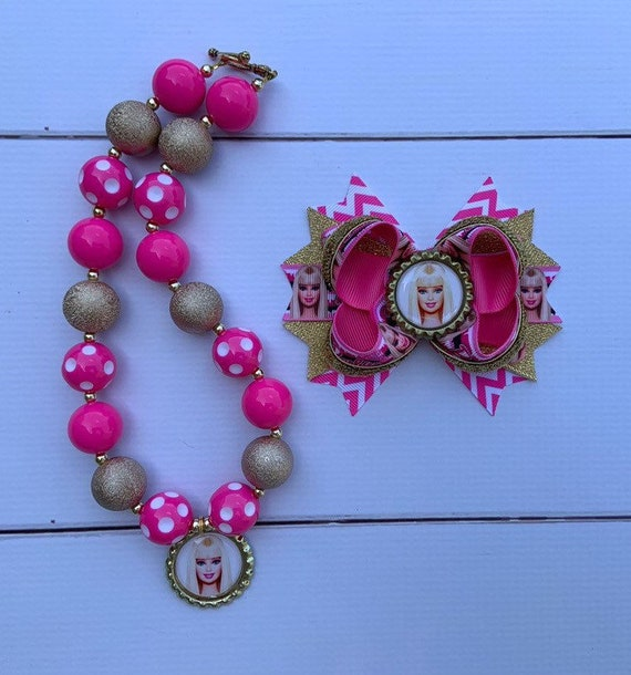 Baby Sharks Hair Bow And Chunky Necklace// Bubblegum Necklace Set
