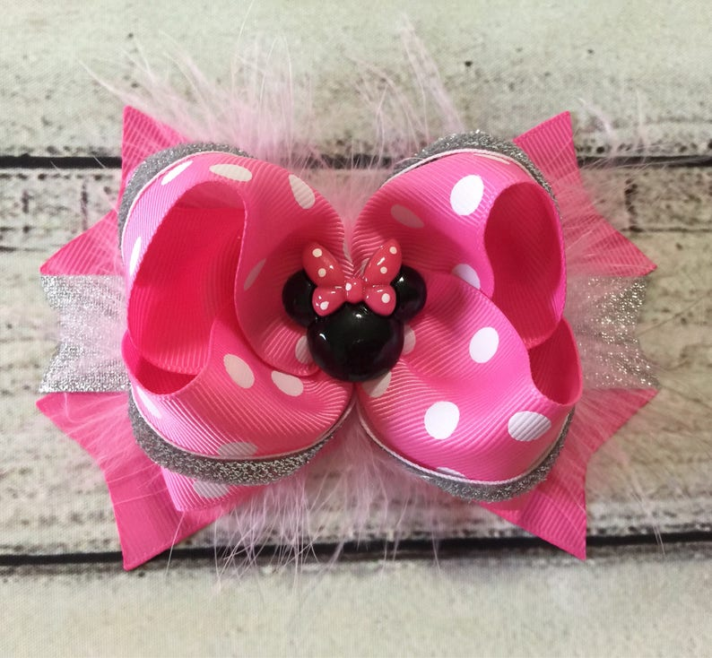 Shoes Topper Bows Handmade Pink//Gold Minnie Mouse Pig Tail Hair Bow SET