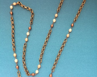 Long Chain and Glass Bead Necklace