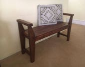 Farmhouse style bench Rustic bench with Armrest Solid Wood bench Handmade Bench Customized Bench