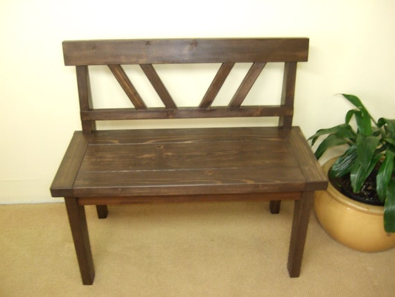 Sensational Farmhouse Style Bench Rustic Bench With Back Solid Wood Bench Handmade Bench Wood Bench Creativecarmelina Interior Chair Design Creativecarmelinacom