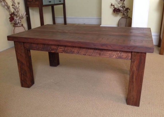 solid wood coffee table solid wood farmhouse coffee table etsy. Black Bedroom Furniture Sets. Home Design Ideas